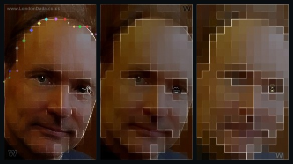 Work 888; Sir Tim Berners Lee progressive pixellation ( Triptych )